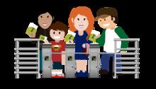 Imagen ilustrada de un torniquete de TransMilenio con personas