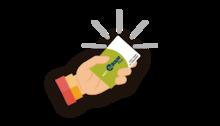 Imagen ilustrada de un  mano con la tarjeta TuLlave