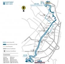 Mapa  de la ruta ZP 850 tras suspensión del servicio urbano P51