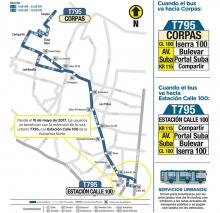 Mapa de la ruta T795 con la extensión de su recorrido