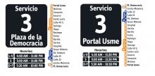 Horarios del servicio 3