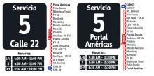 Horarios servicio 5