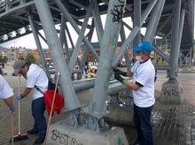 Limpieza de puentes en la localidad de San Cristobal
