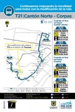 Novedad de la ruta T21 Cantón Norte Corpas