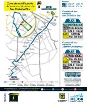 Mapa del  ajuste recorrido del a ruta 738