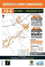 Mapa del recorrido ruta complementaria 13-2