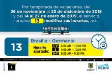 Horario  ruta 13 vacaciones