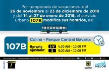 Horario ruta 107B vacaciones