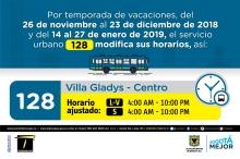 Horario ruta 128 vacaciones