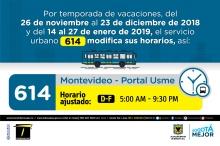 Horario ruta 614 vacaciones