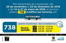 Horario ruta 738 vacaciones