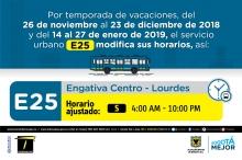 Horario ruta E25 vacaciones