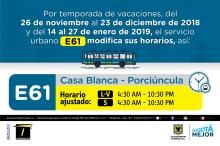 Horario ruta E61 vacaciones