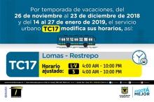 Horario ruta TC17 vacaciones