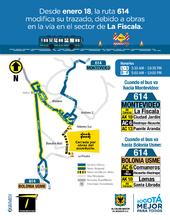Servicio 614 mapa temporal por obra