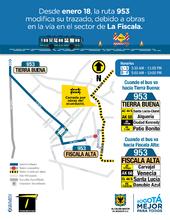 Servicio 953 mapa temporal por obras