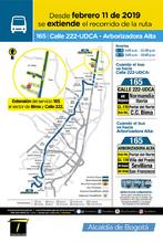 Mapa de la ruta 165