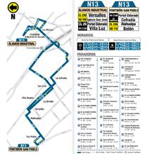 Mapa de la ruta N13