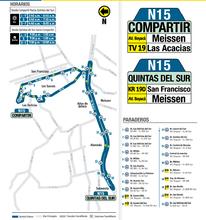 Mapa de la ruta N15