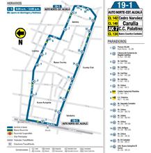 Mapa de la ruta 19-1
