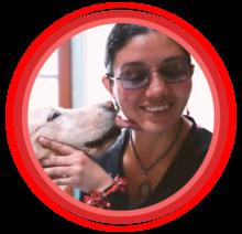 Luisa Moreno y su perro Asahi