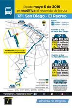Mapa de la ruta 121 con la novedad en su cabecera