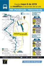 Mapa de la ruta 166 con la novedad en su cabecera