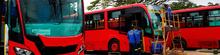 Buses nuevos alistandose para llegar a Bogotá