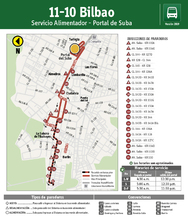 Mapa de la ruta alimentadora 11-10 Bilbao
