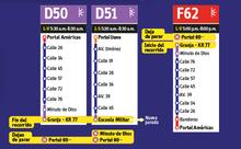 Ajustes ruta zonal D50, D51,F62