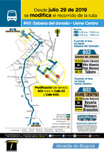Mapa de la ruta 802 con novedades