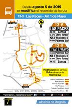 Mapa de la ruta urbana 13-5 Novedad operacional