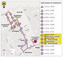 Paradas suspendida de la ruta alimentadora 9-8
