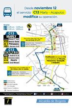 Mapa de la ruta C13-Marly-Acapulco con cambios operacionales