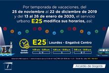 E25 Lourdes Engativá Centro horario ajustado para navidad
