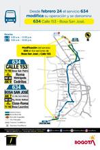 Cambios operacionales de la ruta 634