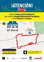 Ruta 4, servicio urbano Hospital universitario San Ignacio