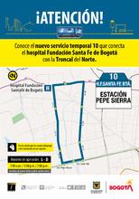 Ruta 10, servicio urbano Hospital Santa Fe Bogotá