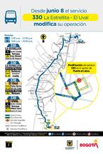 Mapa de la Ruta 330 La Estrella - El Uval