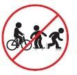 Prohibido montar bicicleta, patines, patinetas
