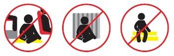 No se siente en escaleras, pisos, cabinas