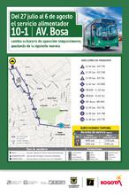 Mapa de  la ruta 10-1 novedad en paraderos