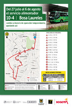 Mapa de  la ruta 10-4 hora valle con novedad  en su recorrido