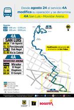 Mapa del servicio zonal A4 San Luis – Movistar Arena
