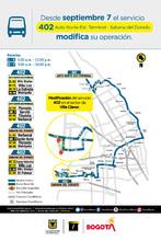 Cambio operacional de la ruta zonal 402