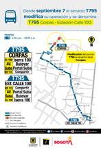 Cambio operacional de la ruta zonal T795