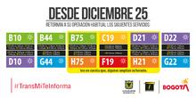 Rutas TransMilenio 25 diciembre
