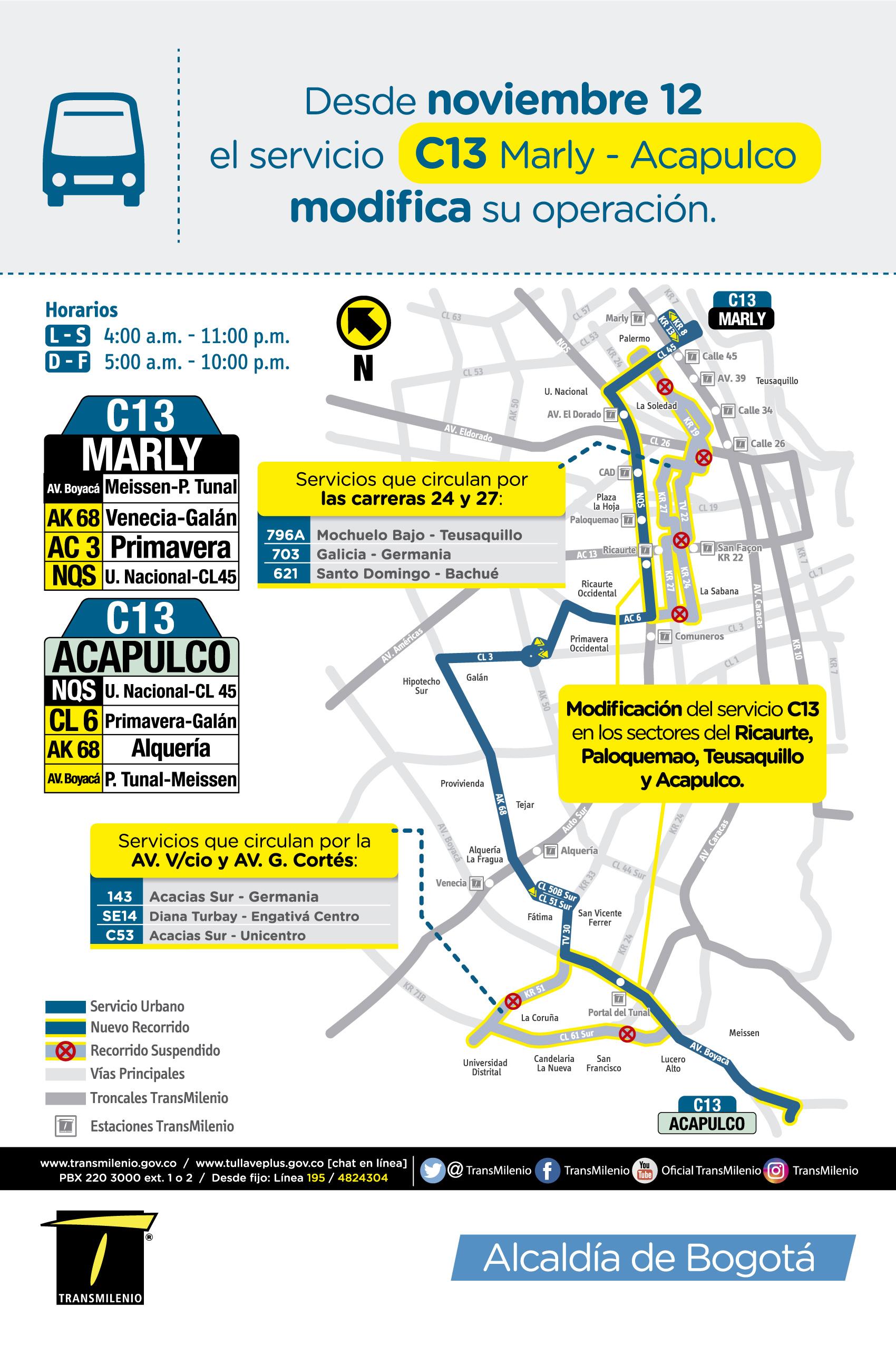 Mapa de la ruta C13 Marly Acapulco con novedad en su trazado