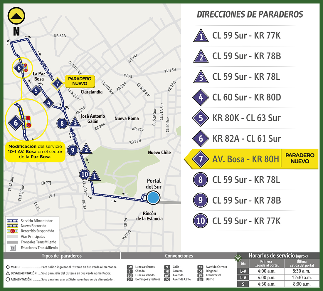 Mapa de la ruta alimentadora 10-1  con la reubicación de paradas
