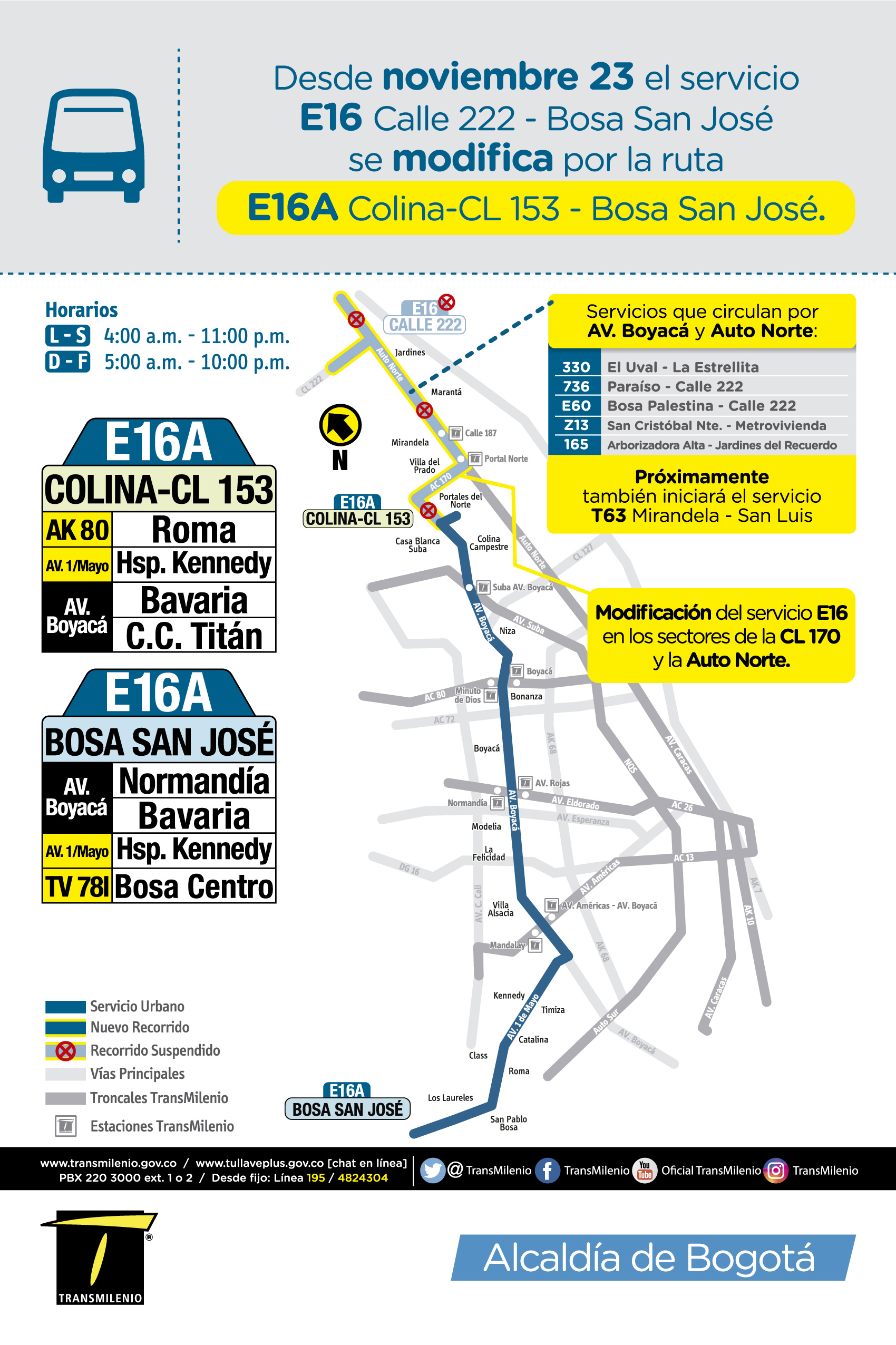 Mapa del nuevo recorrido de la ruta E16